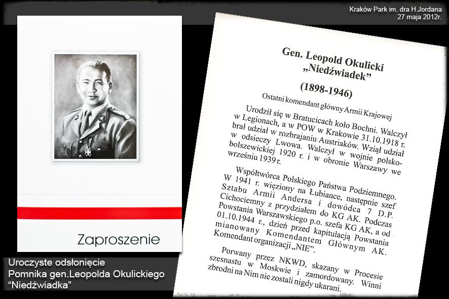 Uroczyste odsłonięcie Pomnika gen. Leopolda Okulickiego